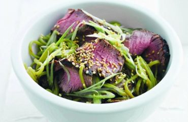 Seared beef with green tea noodles and miso dressing